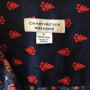 Charter Club Tops - Charter Club Weekend Button Front Linen Shirt Sz L